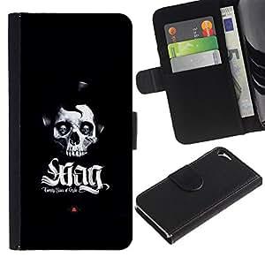 LECELL--Cuero de la tarjeta la carpeta del tirón Smartphone Slots Protección Holder For Apple Iphone 5 / 5S -- Swag del cráneo --