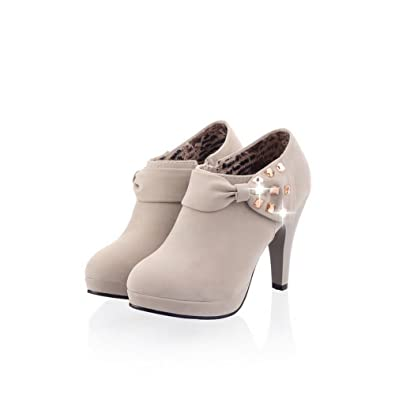 0c28b0913e9 AmoonyFashion Womens Closed Round Toe High Heel Platform PU Feosted Solid  Pumps with Zipper and Bowknot