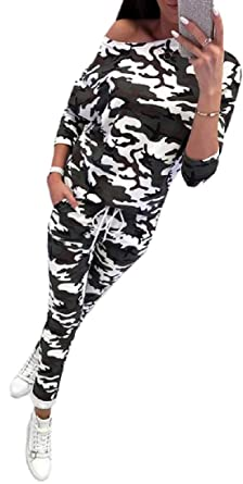 Aooword-women clothes Conjunto de traje de chándal de camuflaje ...
