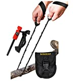 "SOS Gear Pocket Chain Saws - Survival Handsaws with Embroidered Nylon Pouch, Snap Closure and Belt Loop – Camping, Hunting, Fishing & Backpacking - 24"" Chain Saw Chain, Black Straps"