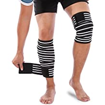 Yosoo Knee Wraps Patella Brace Support Thigh Leg Straps Calf Compression Protector Sleeve for Women Men Gym Workout Weightlifting Running Basketball Outdoors Sports