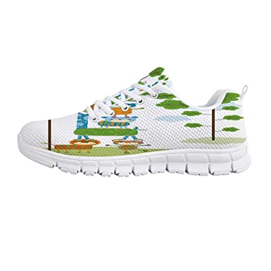 ee78efba0fb4 YOLIYANA Nursery Fashion Gym Shoes,Flourishing Spring Meadow with Colorful  Blossoms Butterflies Trees Growth Foliage Decorative Sneakers for Girls  Womens,US ...
