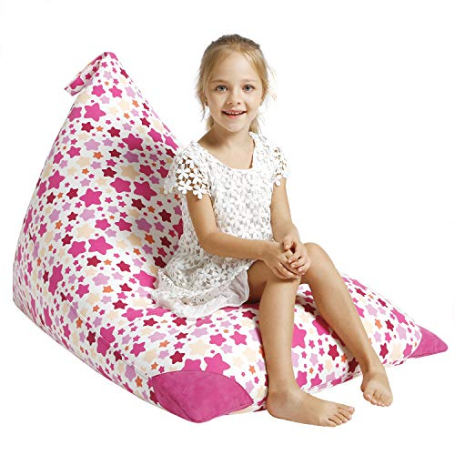 Aubliss Stuffed Animal Storage Bean Bag Chair Cover for Kids, Girls and Adults, Beanbag Cover for Stuffed Animals, 23 Inch Long YKK Zipper, Premium Cotton Canvas, Xmas Gift Ideas (Chair Upright)