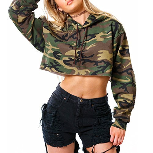 Lurdarin Womens Polyester Hooded Camouflage Sweatshirt Pullover Long Sleeve Crop Top Hoodie Camouflage Hooded Sweatshirt