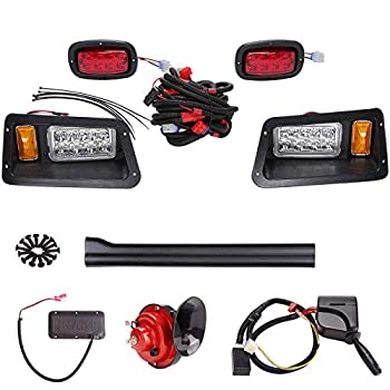 Image of 10L0L Golf Cart LED Headlight Taillight Kit ABS Plastic Compatible for Club Car DS All Models with Turn Signal Switch Horn Brake Lights Harness Golf Cart Accessories