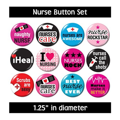 NURSING BUTTONS (set #3) pins badges cute gifts nurse jewelry supplies medical (Pin Gift Set)