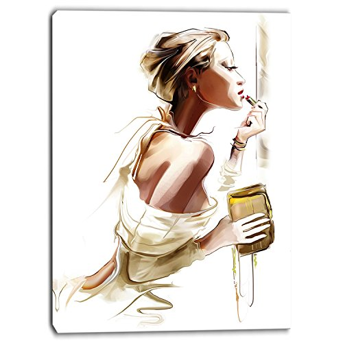Designart PT6659-30-40 ''Fashion Woman Portrait Digital'' Canvas Art Print, Brown, 30x40'' by Design Art