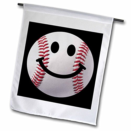 - 3dRose fl_76657_1 Baseball Smiley Face-Sporty Sports Fan Smile Red and White Ball on Dark Black Background Garden Flag, 12 by 18-Inch