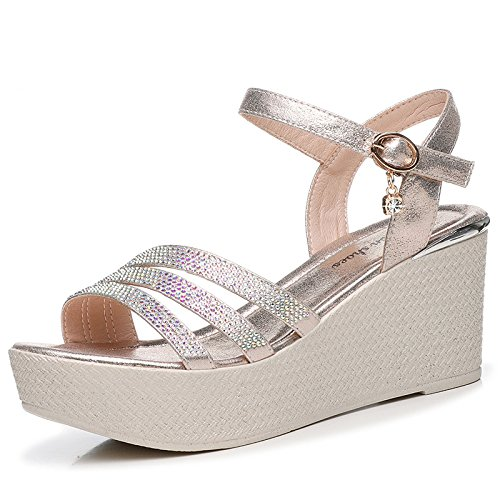 HGTYU With The Slope Sandals Women Students Summer Waterproof Sponge Cake Shoes Comfortable Thick 8Cm High-Heel Shoes Champagne Color