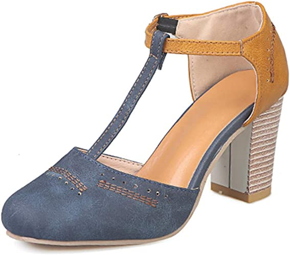 Mary Janes Womens Ankle Strap Chunky Mid Heel Casual Pumps OL Sandals Shoes Pump