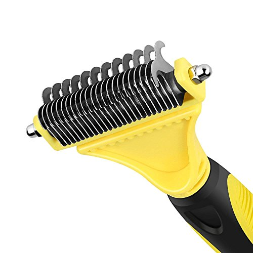 CU QUAN Pet Grooming Tool, 2 Sided Undercoat Rake, Easy Mats & Tangles Removing, Safe Dematting Comb Perfect for Dogs & Cats (Yellow) by CU QUAN (Image #4)