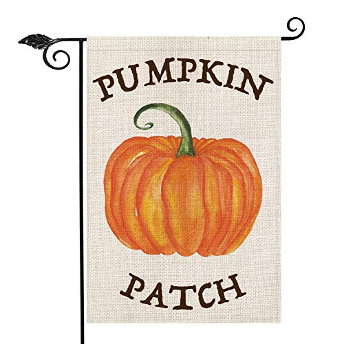 AVOIN Pumpkin Patch Garden Flag Vertical Double Sided, Seasonal Fall Autumn Vintage Thanksgiving Rustic Burlap Yard Outdoor Decoration 12.5 x 18 Inch