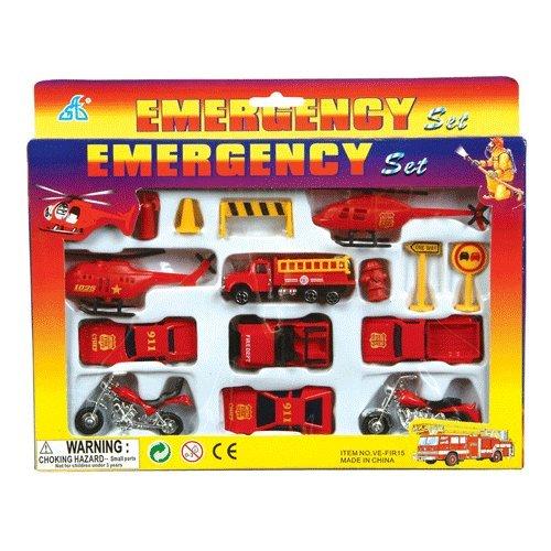 15 Piece Die Cast Fire Engine Team Set (Diecast Fire Engine)