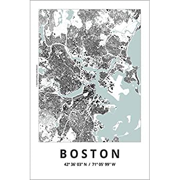 Spitzy's Map of Boston Massachusetts 12 by 18 Inch City Map Poster - Traveler, United States, Adventurer, Modern Wall Decor Art