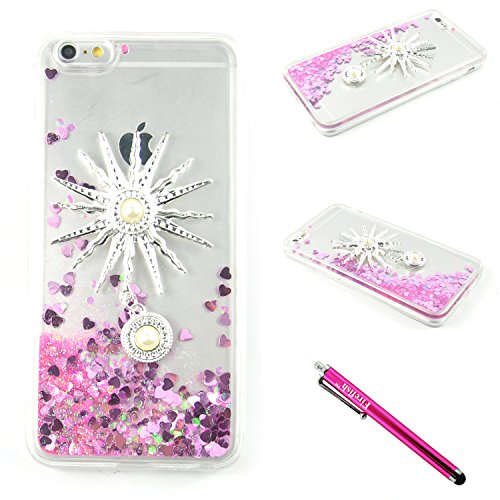 iPhone 6S Plus/iPhone 6 Plus Case, Firefish Clear Protective Hard PC & Soft Edge Case with Liquid Quicksand Bling flowing Floating Moving Shine Glitter for iPhone 6 Plus/ 6S Plus -Pink (Girly Iphone 6 Accesories compare prices)