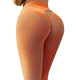 GILLYA Lift Yoga Pants Textured Leggings for Women High Waisted Ruched Butt Booty Lifting Leggings Ruched Tights (orange , M)