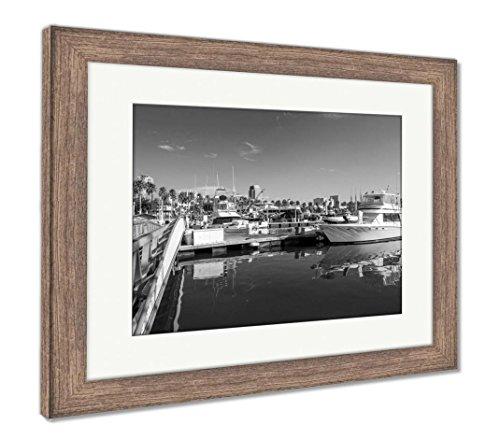 Ashley Framed Prints Long Beach Marina and City Skyline Long Beach Ca, Wall Art Home Decoration, Black/White, 26x30 (Frame Size), Rustic Barn Wood Frame, AG5620048