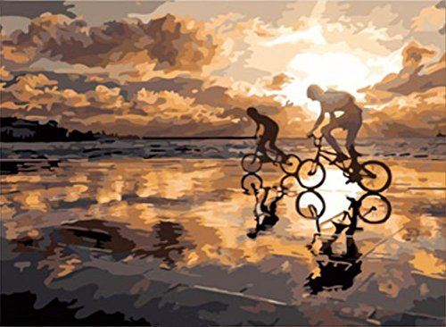 Bicycle Rider Wine (JynXos Wooden Framed Paint By Number Canvas DIY Painting - Bicycle Rider)