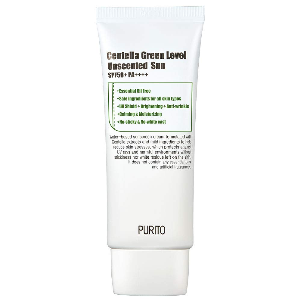 PURITO Centella Green Level Unscented Sun SPF50+ PA++++ 60ml / 2 fl.oz EWG All Green Ingredients, 100%, Cica care, UVA1,2 UVB, Broad spectrum,Lightweight,Sensitive skin,essential oil free