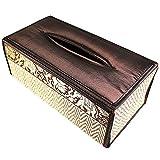 chantubtimplaza Tissue Box Cover Thai Handicraft Elephant Silk Reed Black Color Handmade Home Decor