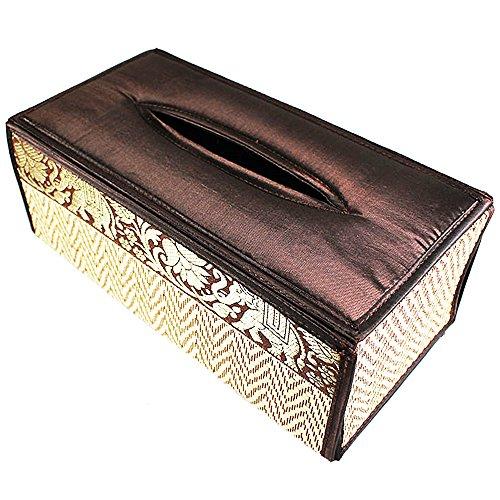 chantubtimplaza Tissue Box Cover Thai Handicraft Elephant Silk Reed Black Color Handmade Home Decor by chantubtimplaza