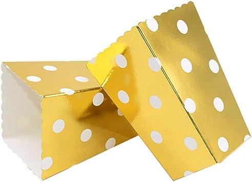 VAINECHAY 12PCS Cajas de palomitas Carton Maíz Caja Papel Pequeña Dulces Papas Fritas Fiesta Cumpleaños para Niños Caja Regalo Comida Bocadillos Titulares Contenedor Onda Dorada Oro Olas: Amazon.es: Juguetes y juegos