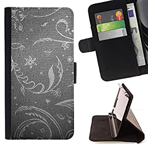 DEVIL CASE - FOR Apple Iphone 6 PLUS 5.5 - Floral Wallpaper Grey Gray Silver Retro Vintage - Style PU Leather Case Wallet Flip Stand Flap Closure Cover