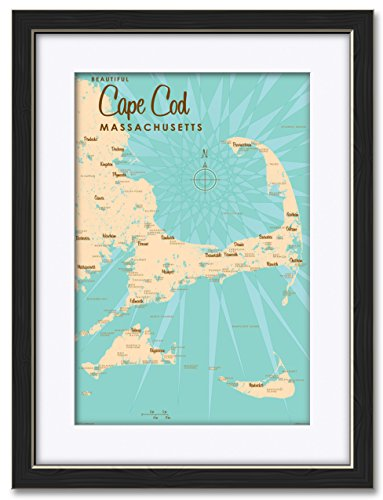 Cape Cod Massachusetts Vintage-Style Map Professionally Framed & Matted Giclee Travel Art Print by Lakebound Print Size: 12