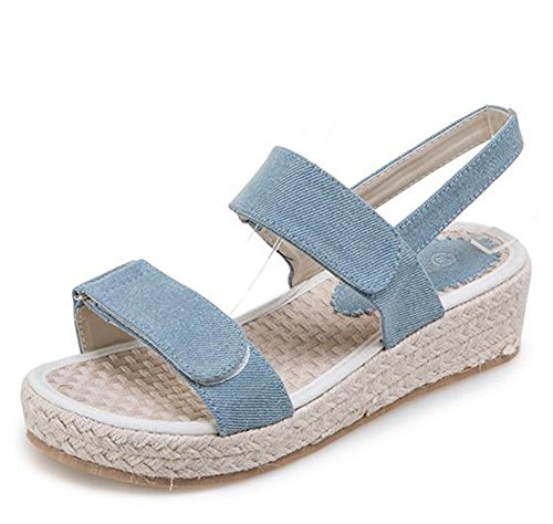 Easemax Womens Hook And Loop Open Toe Mid Wedge Heel Platform Ankle Strap Sandals Light Blue dccbL78sV