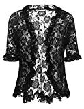 ELESOL Women Chic Short Sleeve Floral Lace Shrug Open Front Bolero Cardigan Black XL