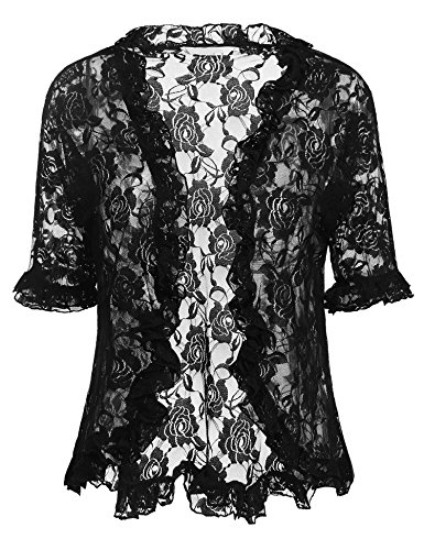 ELESOL Ladies Sexy Lace Crochet Bolero Shrug Pleated Sleeve Open Cardigan Crop Top Black/S - Edge Shrug