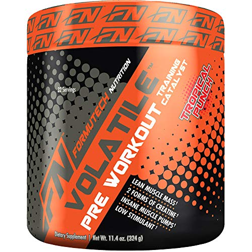 Formutech Nutrition Volatile Pre Workout Powder, 2 Forms of Creatine for Huge Muscle Pumps and Lean Muscle Mass, Low Stimulant Formula, Tropical Punch, 32 Serving - Formula Tropical Punch