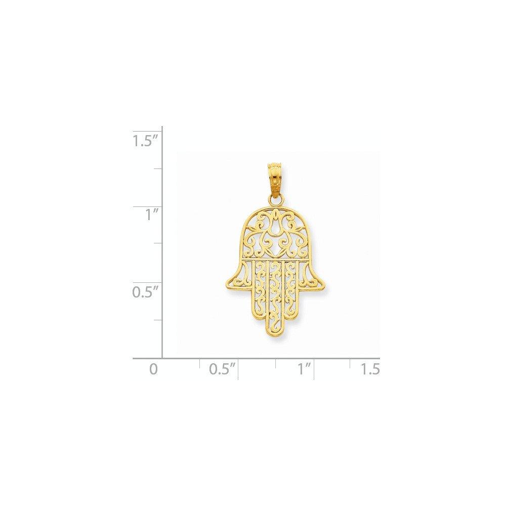 14K Yellow Gold Filigree Chamseh Charm Pendant