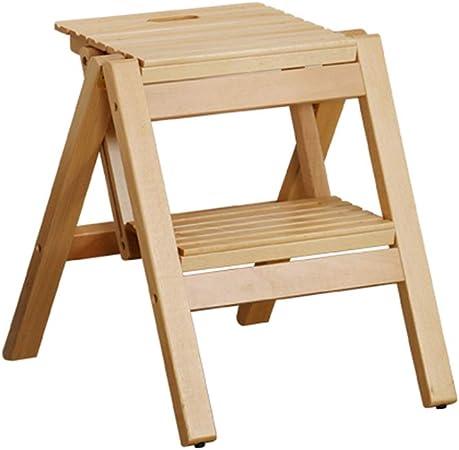 para escalones Escalera de madera maciza Silla multifuncional Taburete plegable de 2 peldaños Escalera de madera, estantes Para la decoración del hogar Escalera de biblioteca fácil de abrir y plegar: Amazon.es: Hogar