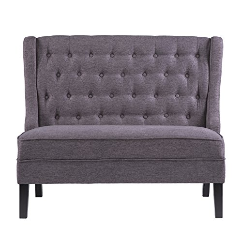 "Furniture HotSpot – High Back Tufted Settee - 48.5"" W x 30"" D x 39.5"" H (Charcoal)"
