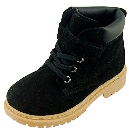 DADAWEN Boy's Girl's Classic Waterproof Leather Outdoor Velcro Strap Winter Boots (Toddler/Little Kid/Big Kid) Black US Size 11 M Little (Combat Child Boots)