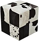 Surya POUF-56 Hand Made 100% Leather Ivory 18'' x 18'' x 18'' Pouf