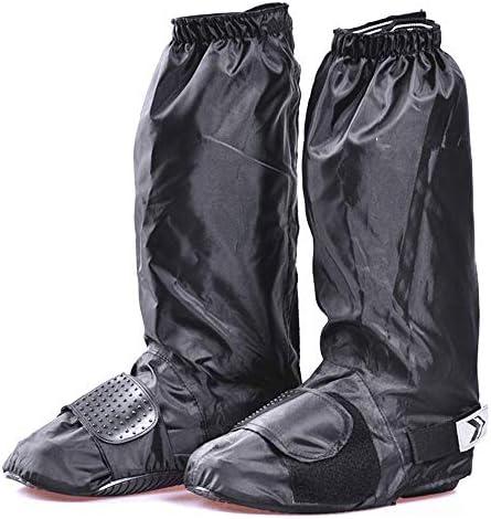 シューズカバーロードバイク サイクル 雨防止靴カバー男性と女性雨の日厚い防水滑りやすい摩耗下の雪カバー大人の黒の高いチューブ 防風 撥水 保温効果で足下をしっかりカバー (Size : Large)