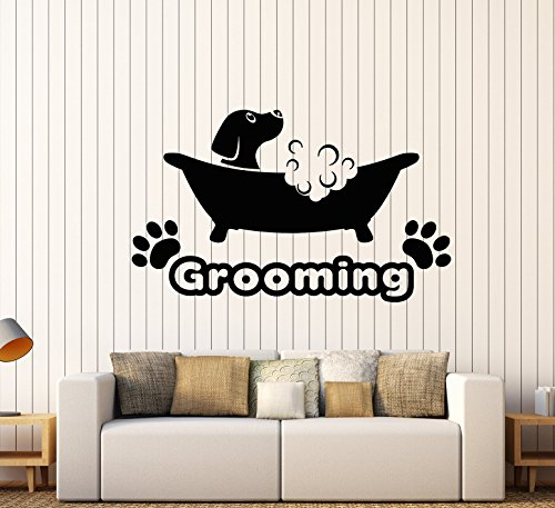 - Vinyl Wall Decal Pets Beauty Salon Grooming Dog Puppy Bath Stickers Large Decor (1746ig) Black