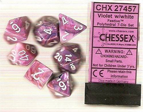 Polyhedral 7-Die Festive Chessex Dice Set - Violet with White CHX-27457 by Chessex