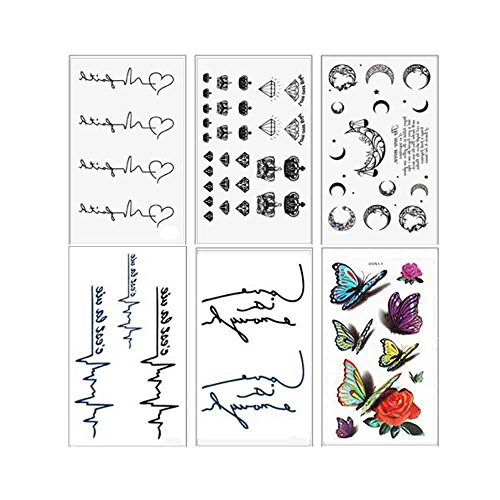 VanTattoo (6Sheets) Fashion Body Art Stickers Removable Waterproof Temporary Tattoo –ECG, crown, moon, letters, butterfly, heart