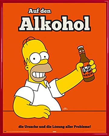 Los Simpson Póster Mini con Marco (Plástico) - Homer Here's To Alcohol (50 x 40cm)https://amzn.to/2GugEGr