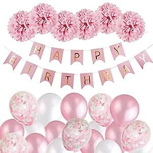 MMTX Decoración de Cumpleaños para Niña, Rosa Feliz Cumpleaños Conjunto de Pancartas de Feliz Cumpleaños con Globos Rosados y Pompones de Papel Tisú ...