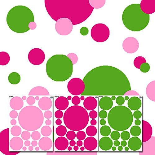 Polka Mural Dot (Create-A-Mural Girls Polka Dot Wall Decals (63) Green & Pink, Hot Pink Wall Dot Decals)