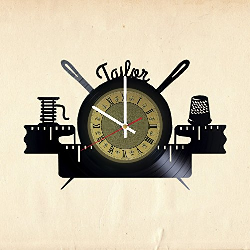 Sewing Machine Vinyl Wall Clock - Great idea for Tailor, Outfitter, Dressmaker, Garment-Maker, couturier, Fashion Designer - Customize Your Clock