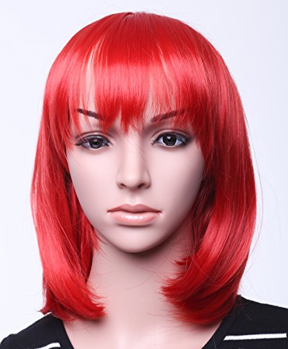 """Red Ladies Candy Cap - SWACC 11"""" Women Short Straight Synthetic Bob Wig Candy color Cosplay Wig Anime Costume hairpiece for Party with Wig Cap (Red-09)"""