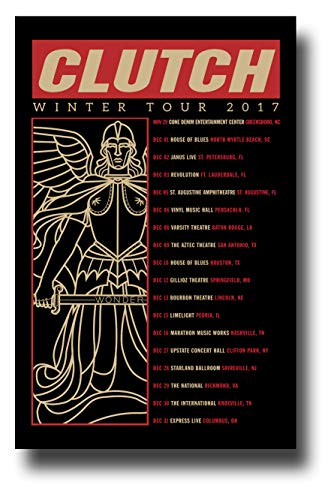 Clutch Poster Concert Promo 11 x 17 inches Winter Tour 2017 Tour Dates Black Red ()