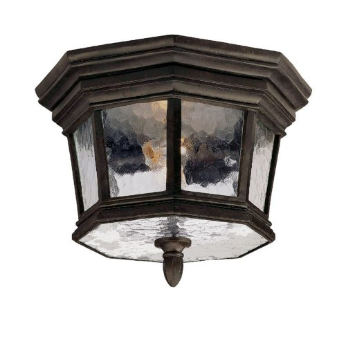 - Alico Lighting 205MM Acclaim Lighting Marbleized Mahogany Finished Outdoor Flush Mount with Hammered Water Glass Shades