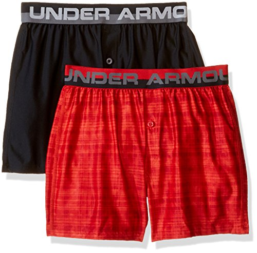 Under Armour Boys' Original Series Boxer Shorts 2-Pack, Sultry/Black, Youth Medium