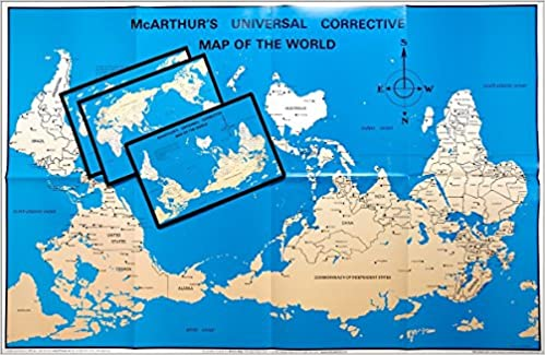 mcarthurs universal corrective world map paper folded version stuart mcarthur 9781931057585 amazoncom books